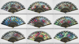 12 PCs Flower Print Foldable Lace Trim Hand Fan Multi-Pattern Decoration... - $18.95