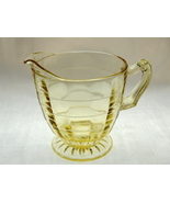 Anchor Hocking Glass Yellow Block Optic Footed Creamer - $12.50