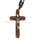Resin Wood Pendant Necklace Carving Adjustable String Bead Jesus Cross - $3.99
