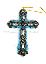 Western Style Cross Pendant Turquoise Stone Tex... - $6.99