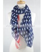 "57"" American Flag Print Summer Silk Scarf Star Stripe Red Blue White Thi... - $5.49"