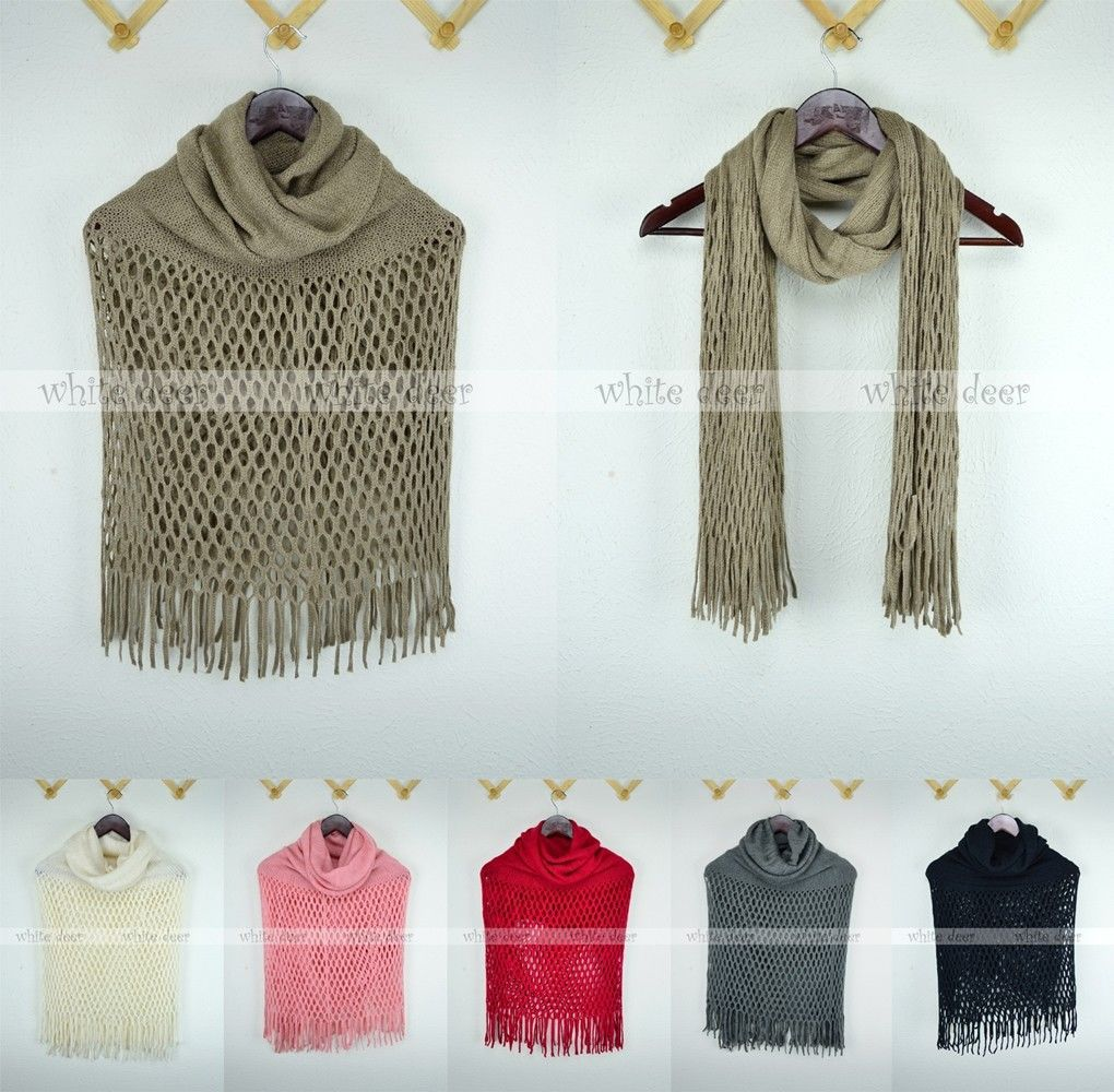 Primary image for Dual Purpose Knitted Winter Scarf Poncho Infinity Net Solid Color Tear Drop