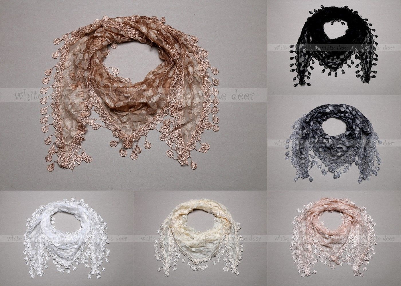 "Primary image for 64"" Lace Triangle Scarf Leaf Seed Fringe Tassel Sheer Floral Print Embroidery"