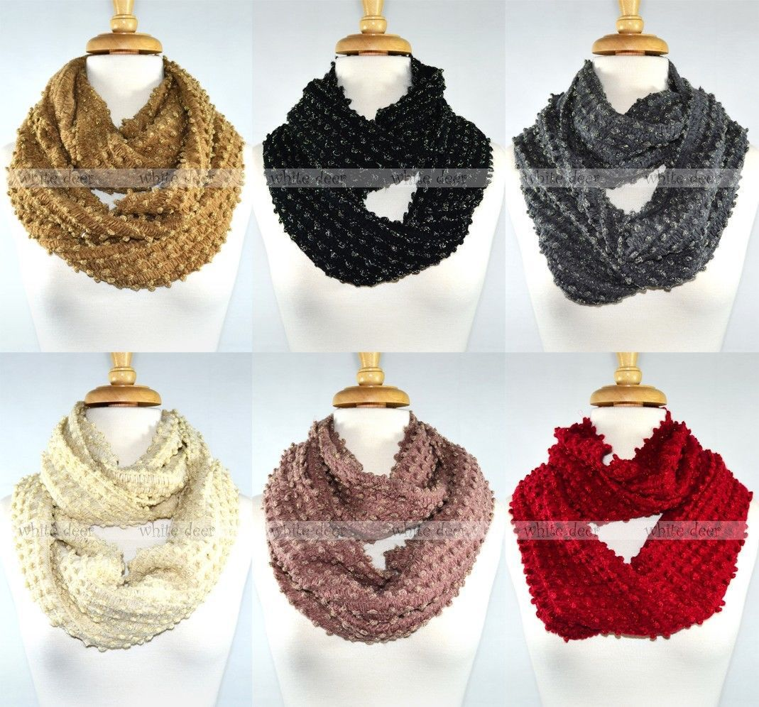 Primary image for Gold Thread String Flashing Knit Infinity Winter Scarf Elastic Warm Circle Loop