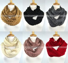 Gold Thread String Flashing Knit Infinity Winter Scarf Elastic Warm Circle Loop - $8.85