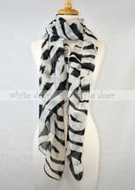 "72"" Long Zebra Animal Print Black White Design Scarf Wrap Shawl Fashion - $9.35"