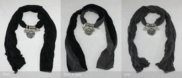 Solid Colors Jewelry Scarf Iron Silver Flower Pendant Charm Cotton Dark Color - $10.35