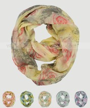 Oil Paint Rose Floral Block Circle Loop Wrap Infinity Scarf Multi Color Soft - $6.95