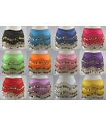 158 Gold Coins Women's Belly Dance Hip Scarf Skirt Wrap Chiffon Sequins ... - $9.45