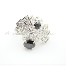 Cubic Zirconia CZ Violet Black White Bow Tie Design Ring Jewelry Sterlin... - $24.99