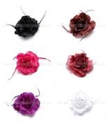 Women's Lady Black Feather Flower Brooch Clip Flash Powder Glitter Headd... - $4.99