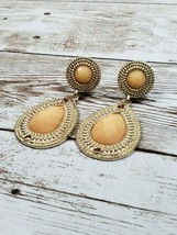 Vintage Gold Tone and Apricot Dangle Clip On Earrings - $14.99