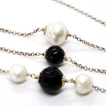 SILVER 925 NECKLACE PINK, ONYX BLACK, PEARLS, LONG 130 CM, CHAIN ROLO', 2 TURNS image 5