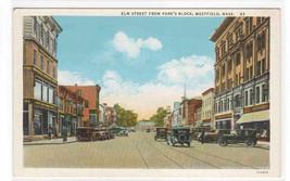 Elm Street Cars Westfield Massachusetts 1920c postcard - $6.44