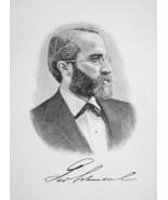 GEORGE SCHNEIDER Chicago Financier & Banker - 1895 Portrait Antique Print - $9.45