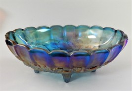 Indiana Blue Carnival Glass Iridescent Harvest Grape Oval Center Bowl Fo... - $59.39