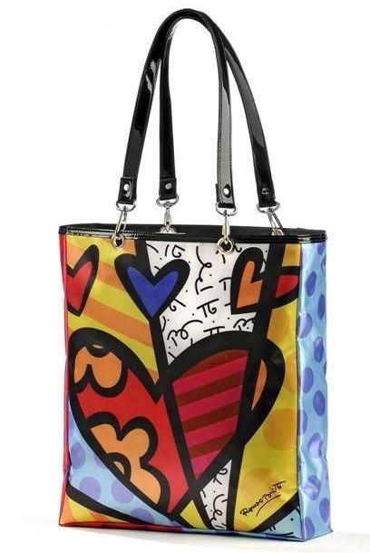 Romero Britto Satin Tote Bag Hearts A New Day Design #331401 NEW