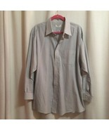 Brooks 346 Dress Shirt Size 17 1/2 34 Blue & White Striped Button Front ... - $28.00