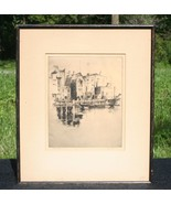 """LISTED ARTIST GERRY PEIRCE DRY POINT ETCHING """"THE WHARF"""" - $225.00"""