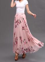 Women Pink FLORAL Chiffon Long Skirt A-line Flower Long Chiffon Skirt Summer  image 10