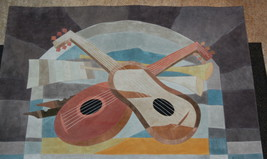 Fabrice French Suede Tapestry Mosaique de Cuir Music Musique Cubists 20t... - $295.00