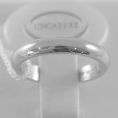 SOLID 18K WHITE GOLD WEDDING BAND UNOAERRE RING 5 GRAMS MARRIAGE MADE IN ITALY