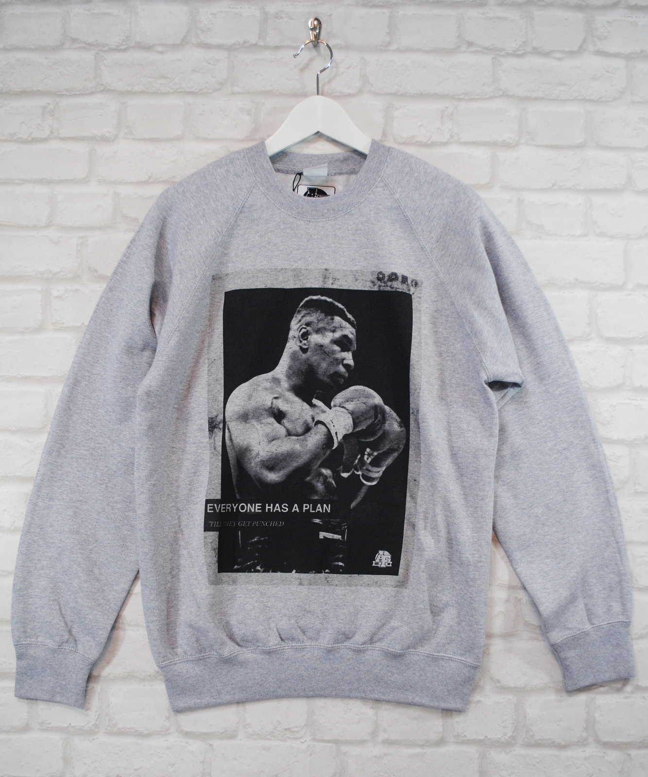 Actual Fact Mike Tyson Plan Boxing Premium Grey Crew Neck Sweatshirt Jumper, used for sale  USA