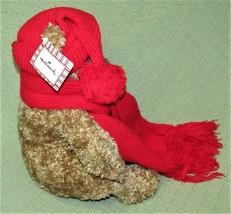 Hallmark MARY Teddy Bear RED Scarf & Hat Tan Plush Stuffed Animal Origin... - $23.38