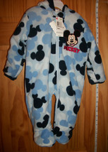 Disney Baby Clothes 6M-9M Mickey Mouse Hooded Pram Blue Footed Hoodie Ou... - $28.49