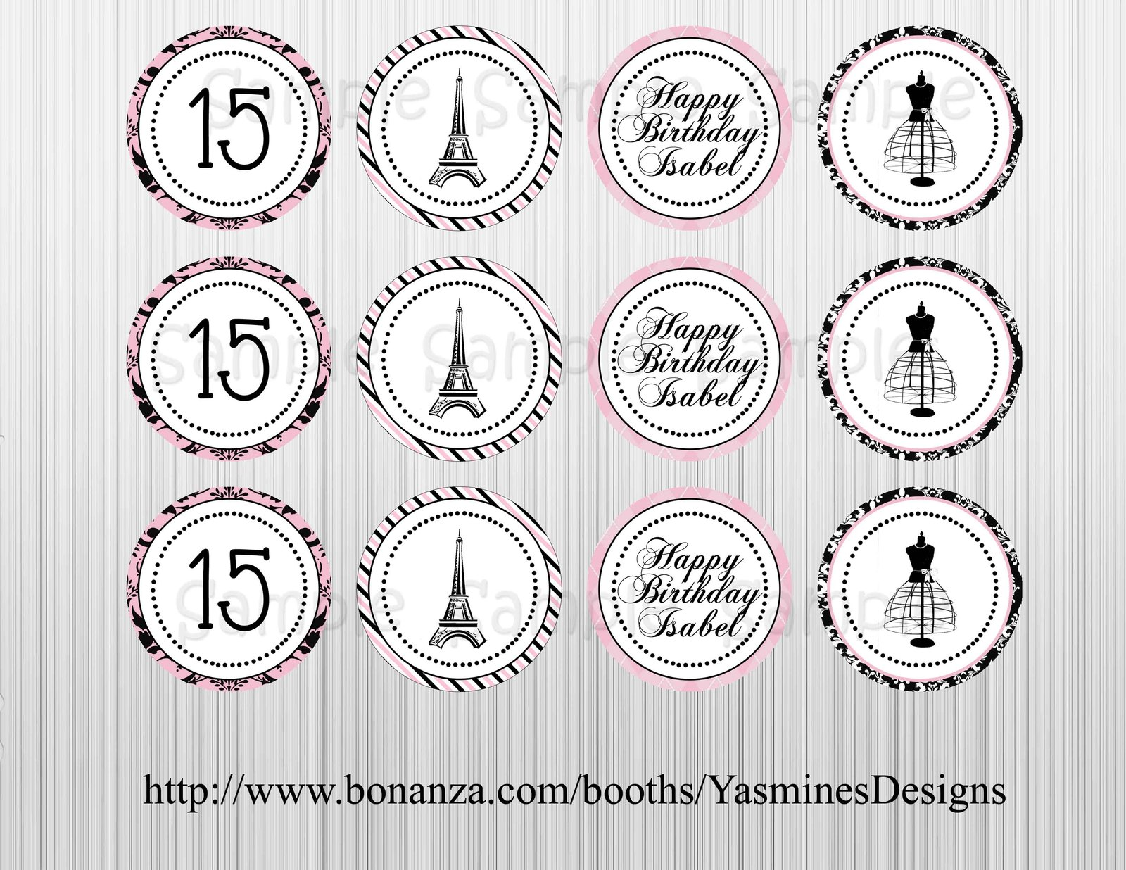 Paris French Themed cupcake Toppers and similar items