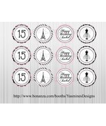 Paris/French Themed cupcake Toppers: Printable, Custom, Birthday, Baby s... - ₨289.94 INR