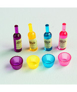 8pc/ set Mini Wine Bottles Cups Miniature Dollhouse Decoration Fairy Gar... - $6.00