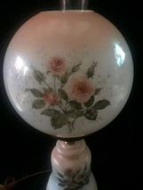 Vintage Hurricane Parlor Lamp Hand Painted Shabby Pink Roses Round Globe... - $212.00