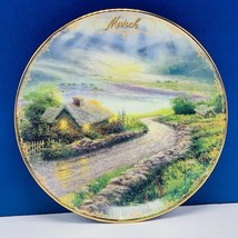 Thomas Kinkade collector plate Bradford Simpler time cottage March Emera... - $18.27
