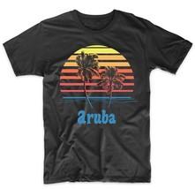 Retro Style Aruba Sunset Palm Trees Beach Vacation T-Shirt - $12.99