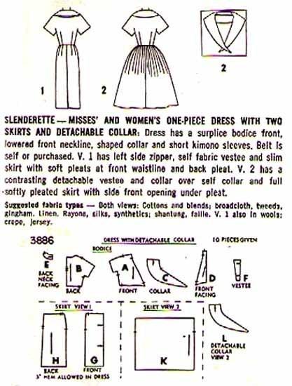 1960's Slenderette DRESS Pattern 3886-s Size 12 Uncut