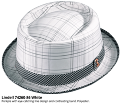 Who Ced Lindell Polyester Porkpie Hat Fully Lined Sweatband Plaid White ... - $46.00