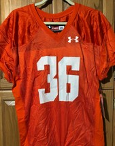 Under Armour UA Youth Medium Football Game Practice Jersey Orange Authen... - $12.86
