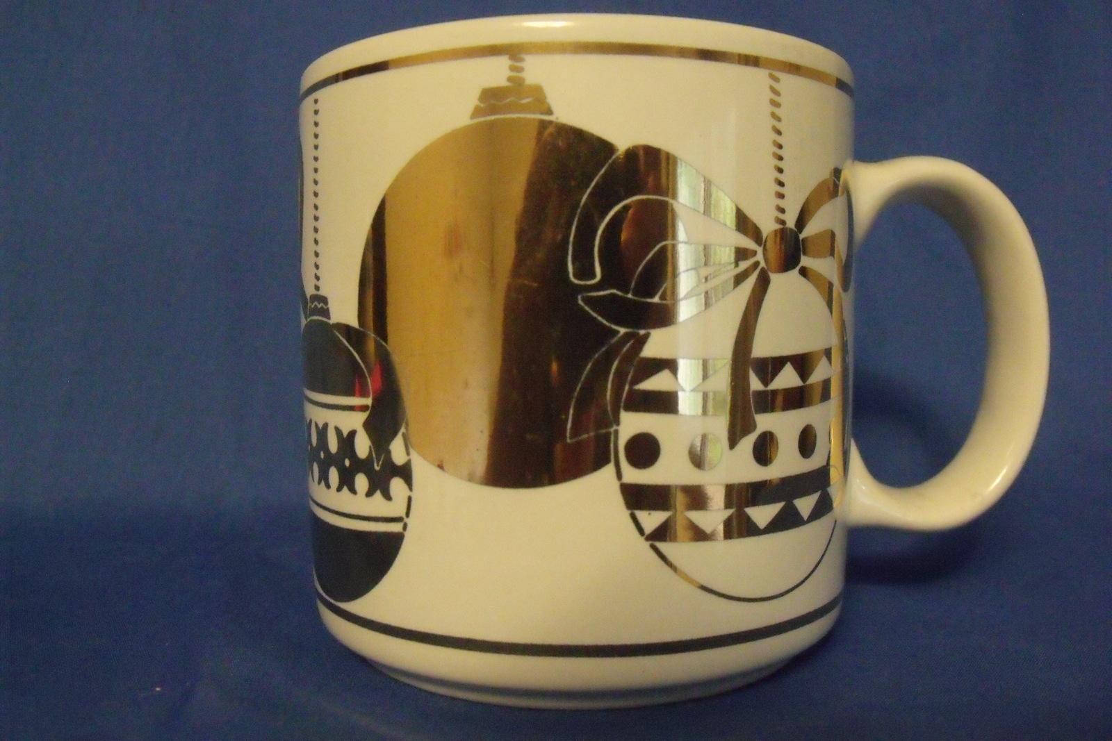 Russ Berrie White Gold Christmas Balls Coffee Tea Mug - $5.95