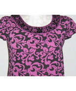 INC Fuschia Blouse With Black Beads Size M - $22.00