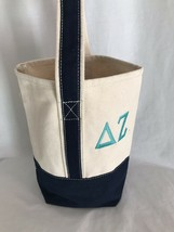 Poppies Delta Zeta Monogrammed Navy and Beige Wine Bag - $14.24