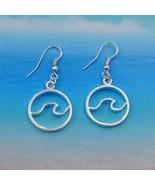 """WAVE EARRINGS 0.75"""" Round Charm Beach Ocean Surf Stainless Steel Ear Wir... - $7.95"""