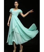 Summer Sorbet Dress. Flowvy Chiffon Teal Blue Long Dress. Bridesmaids Dr... - $89.90