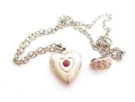 "Pretty Vintage Child Size 12.5"" Chain Gold Tn Rhinestone Heart Charm Nec... - $11.88"