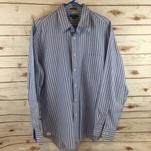 J Crew Dress Shirt Stripes Size Large 16 16 1/2 120's 2 Ply Blue White - $14.20