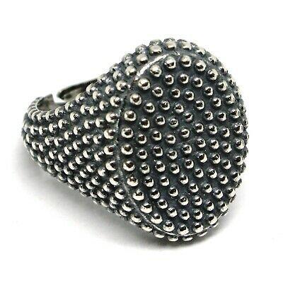 Men's Ring Silver 925, Burnished and Speckled, Oval, Size Adjustable