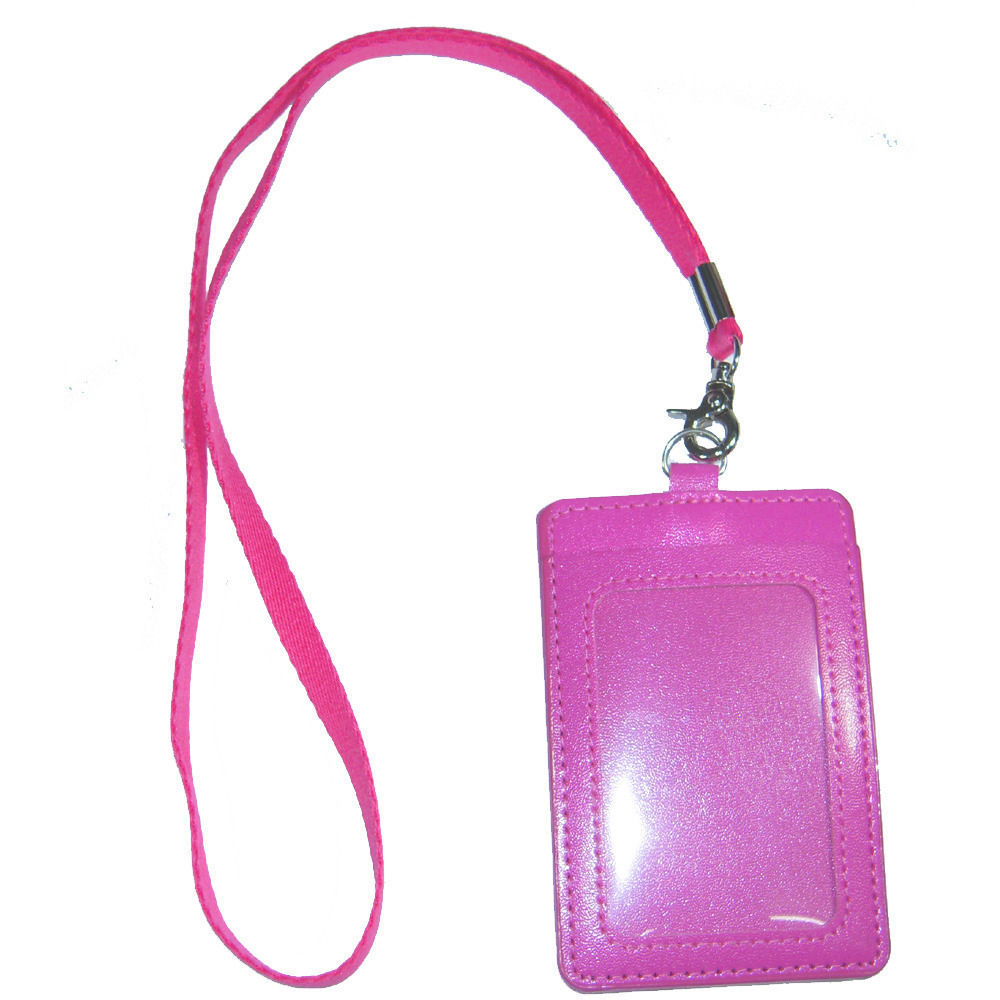 Primary image for ID Company Permit Pass Badge Card Holder Pink PU Synthetic Leather + Neckstrap