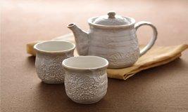 Tokyo Matcha Selection - Minoyaki Pottery Tea Set : White Floral - 1 Teapot &... - $53.45