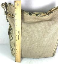 Brahmin Beige Fabric and Reptile Print Trim Shoulder Bag- Well Worn image 5