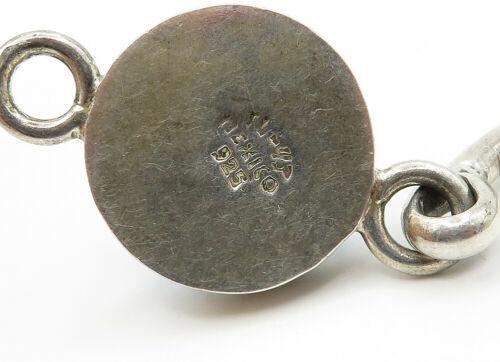 MEXICO 925 Silver - Vintage Turquoise & Multi-Stone Bangle Bracelet - B6265 image 4